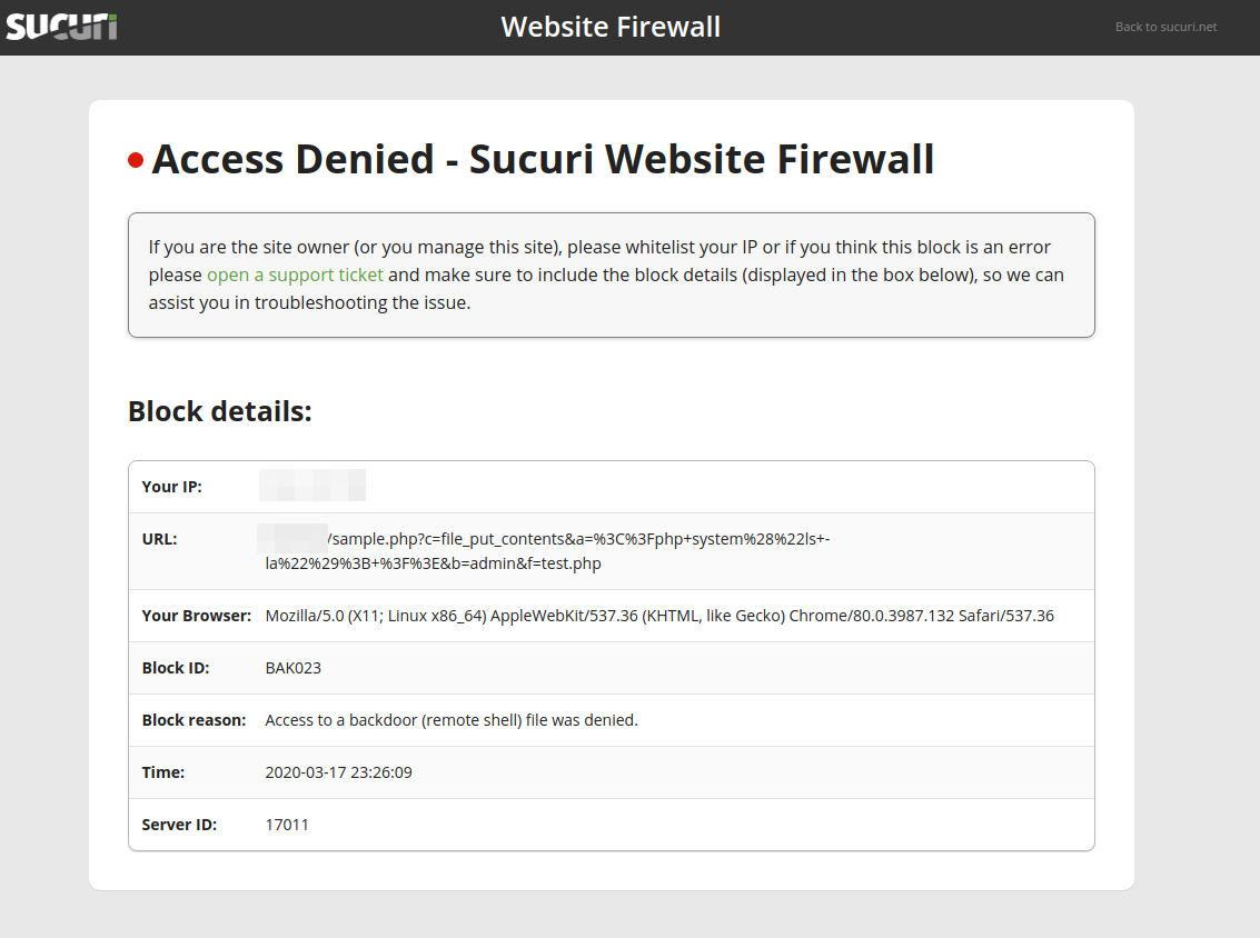 Firewall block page