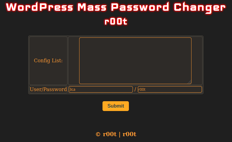 wordpress mass password changer user interface